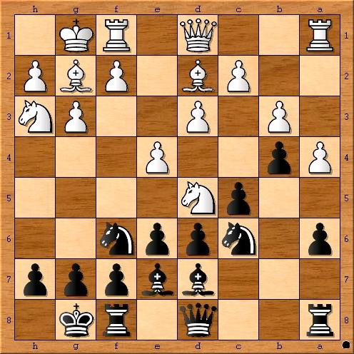Stellung nach 11. a4 b4 12. Sc3-d5??