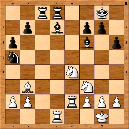 Stellung nach 21. Se4. Hier bietet sich 21. … Sxb3 an.